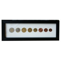 Eight coin Euro Display Frame - 2€ 1€ 50c 20c 10c 5c 2c 1c