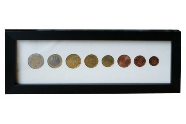 Eight coin Euro Display Frame - 2€ 1€ 50c 20c 10c 5c 2c 1c