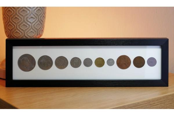 Pre Decimal Definitive Coin Set Display Frame.